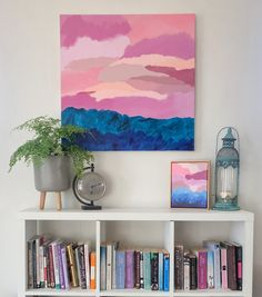 'Summer Skies' original acrylic artwork by Stef Le Gros Original Art For Sale, Original Artwork, Acrylic Artwork, Summer Sunset, Floating Frame, Frame It, Artworks, Art Pieces, Tapestry
