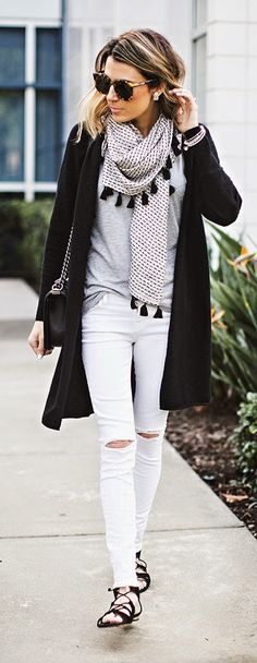 BLACK AND WHITE - Black Cashmere Cardigan with Distressed White Denim, Tassel Scarf and Black Lace-up Sandals /
