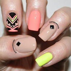 Bright Tribal nails! via #dramaqueennails #pink #nails #nailart #nudepolish #accentnail - See more nail looks at bellashoot.com