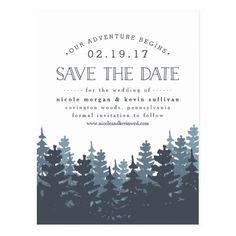 Rustic Wedding Save the Date Our Adventure Begins   Save the Date Postcard