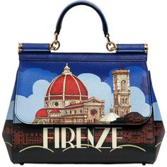 Dolce & Gabbana Women Sicily Firenze Printed Leather Bag (€925) ❤ liked on Polyvore featuring bags, handbags, shoulder bags, blue shoulder bag, handbags shoulder bags, genuine leather handbags, blue leather handbags and leather shoulder bag