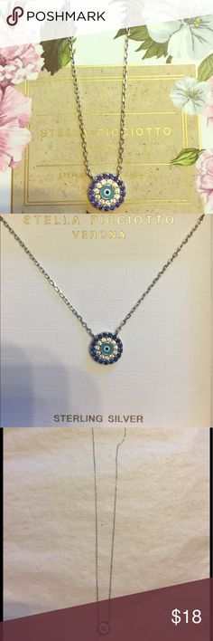 STELLA PICCIOTTO STERLING SILVER EVIL EYE NECKLACE STERLING SILVER EVIL EYE NECKLACE  16 INCHES WITH ONE INCH EXTENDER MAKING IT 17 INCHES LONG  WARD OFF ANY EVIL WITH THIS NECKLACE ON. STELLA PICCIOTTO Jewelry Necklaces