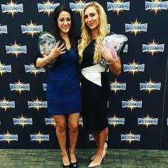 Bayley as NXT Women's Champion & Charlotte as Divas Champion