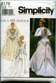 1990s Simplicity 8176 Vintage Jessica McClintock Bride's Wedding Dress Pattern