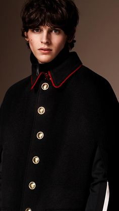 Black Wool Cashmere Military Cape - Image 2