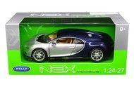 Bugatti Chiron 2 Tone Silver & Blue 1/24 Scale Diecast Car Model By Welly 24077