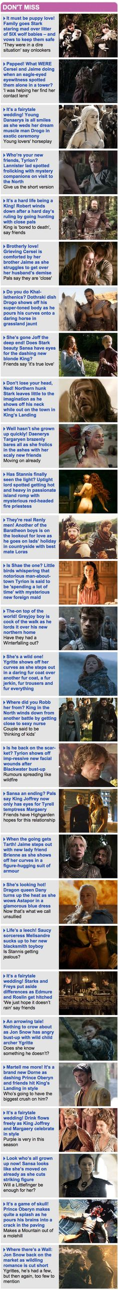 """""""Game Of Thrones"""" As Told By The Daily Mail Sidebar Of Shame   """"Game Of Thrones"""" As Told By The Daily Mail Sidebar Of Shame"""