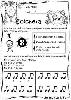 ATIVIDADES DE EDUCAÇÃO INFANTIL  E MUSICALIZAÇÃO INFANTIL: musicalização - colcheias