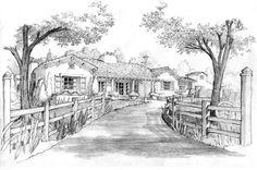 Pencil Sketch | WHA Rendering Studio | Covenant Hills Custome Home Design | Orange, CA