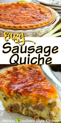 Enjoy Easy Cheesy Sausage Quiche for brunch, lunch or dinner dinner sausage Easy Sausage Quiche Breakfast Dishes, Breakfast Recipes, Healthy Quiche Recipes, Breakfast Ideas, Breakfast Casserole, Easy Breakfast Quiche Recipe, Recipes For Brunch, Simple Quiche Recipes, Egg Dishes For Brunch