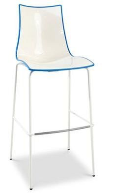 """Zebra"" Plastic Two-Colour High Bar Stool 80cm in White/Blue - AU$229 - https://www.simplybarstools.com.au/products/zebra-plastic-two-colour-high-bar-stool-80cm-in-white-blue – Simply Bar Stools - fixed leg, steel, bar height stools. #Australia #Furniture"