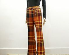 Vintage 1960s Bell Bottom Slacks Bright Plaid Woodstock Era Hippie High Waist Bellbottoms / Small
