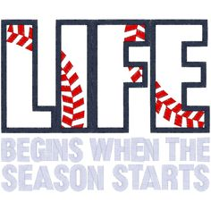 "Sayings Baseball Life Applique We had the worst season to try and start - rain and storms and floods for almost 3 weeks! My oldest said, ""My life will not be complete until baseball starts! Baseball Season, Baseball Mom, Baseball Stuff, Angels Baseball, Baseball Games, Baseball Crafts, Baseball Sayings, Cincinnati Baseball, Baseball Girlfriend"