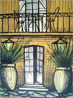 Villenterrasse, Bernard Buffet, Lithographie, 1986