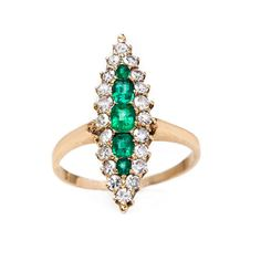 "Trumpet & Horn's ""Orleans"" is a Victorian era Emerald & Diamond 18k Yellow Gold Ring ~ we ❤ this! moncheribridals.com"