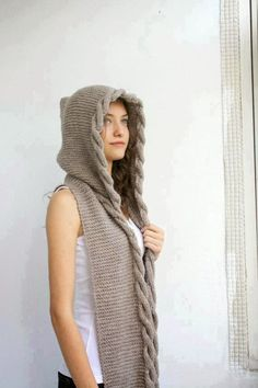 Hand Knit Light Brown Wool Hooded Scarf, Cable Long Hoodie Scarves, Knit Scarf, Nature … – The Best Ideas Hand Knitting, Knitting Patterns, Crochet Patterns, Knit Crochet, Crochet Hats, Hooded Scarf, Long Scarf, Long Hoodie, Cable Knit