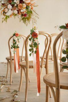 Wedding Aisle Decoration Pew Flowers (Set of 8) - Burnt Orange Wedding Pew Decorations, Wedding Pews, Wedding Chairs, Home Wedding, Fall Wedding, Diy Wedding, Chair Decor Wedding, Church Aisle Decorations, Ribbon Decorations