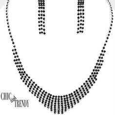 PETITE BLACK CRYSTAL PROM WEDDING FORMAL NECKLACE JEWELRY SET CHIC AND TRENDY   #Unbranded