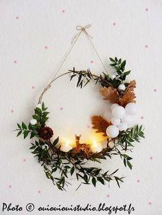 """Idea for Bambi Wreath - embroidery hoop, $ Store faux greenery, tealights, """"snowballs"""""""