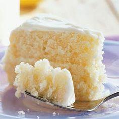 Apparently, the best cake on Pinterest?! lemonade cake; it uses frozen lemonade.