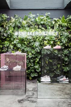 A touch of nature with Neon signage, a floating mirrored box and mesh displays. Shoe Store Design, Retail Store Design, Retail Shop, Store Interior Design, Retail Displays, Commercial Design, Commercial Interiors, Store Layout, Eilat