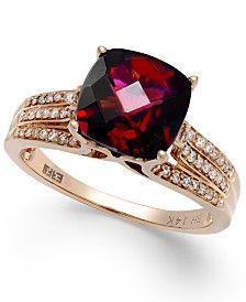 EFFY Rhodalite Garnet (3-1/4 ct. t.w.) and Diamond (1/5 ct. t.w.) Ring in 14k Rose Gold