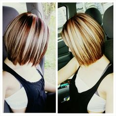 Brown bob with blonde and rose gold chunky highlights