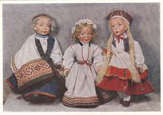1956 RARE Dolls in Ethnic National costumes old Russian Soviet postcard