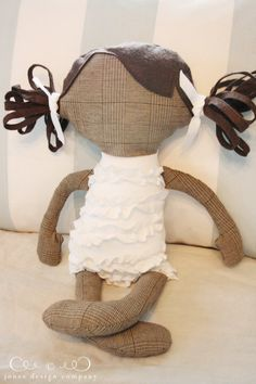 Homemade doll ~ love the idea of the plaid fabric