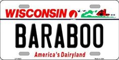 Baraboo Wisconsin Background Novelty Metal License Plate