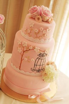Baby shower bird cage cake.