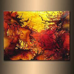 Art contemporain moderne toile colorée originale, par Henry Parsinia 48 x 36