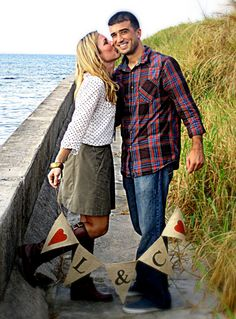 ENGAGEMENT PHOTO BURLAP Banner by baybeedahlboutique on Etsy, $19.99