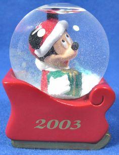 Disney 2003 JC Penney Mini Mickey Mouse Christmas Snow Globe Black Friday Promo #Disney