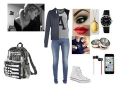 """""""Seeing dad"""" by freak-show101 ❤ liked on Polyvore featuring French Connection, Vila Milano, Converse, LORAC, Monica Rich Kosann, Nine West, Mossimo Supply Co. and Beats by Dr. Dre"""