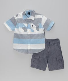 Look at this #zulilyfind! Blue & Gray Button-Up & Cargo Shorts - Infant, Toddler & Boys by U.S. Polo Assn. #zulilyfinds
