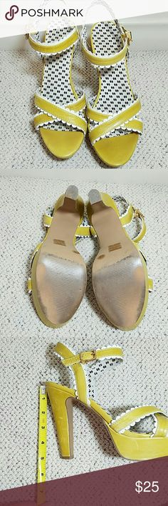 Jessica Simpson Heeled Sandals Jessica Simpson Victorina in Lemon/white. Color is a little on the mystard side. So cute, my knees just can't take it anymore. Jessica Simpson Shoes Platforms