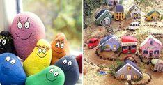 Lek loss med färg och sten – 19 roliga pysselidéer | Land Rock Design, Rock Crafts, Gas Station, Pebble Art, Stone Art, Peace Of Mind, Rock Art, Painted Rocks, Little Ones