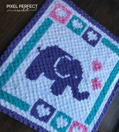 Lovely Elephants Crochet Baby Blanket