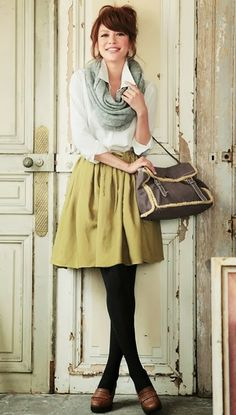 Black tights, yellow skirt, white top, grey infinity scarf