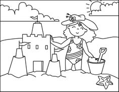 Little Girl Building Sand Castle In A Beach Coloring Page