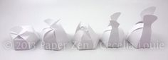 Paper Zen: Bride Dress and Groom Tuxedo Party Favor Boxes