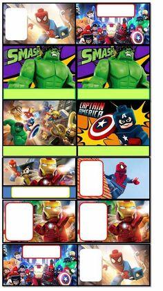 O Tapete Vermelho da Imagem: Images' Red Carpet: Etiquetas para livros escolares dos Lego Marvel Heroes / Lego Marvel Heroes school labels