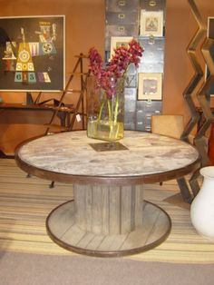 Large Industrial spool table | From a unique collection of antique and modern dining room tables at https://www.1stdibs.com/furniture/tables/dining-room-tables/