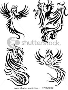 Phoenix tattoo - I love the top right corner's head design.