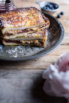Peanut Butter & Rhubarb Jelly Hot French Toast Sammie | halfbakedharvest.com @hbharvest