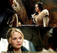 """""""Of course not. But love is a part of happiness, and you have to be open to that."""" - Emma and Bandit Regina #OnceUponATime"""