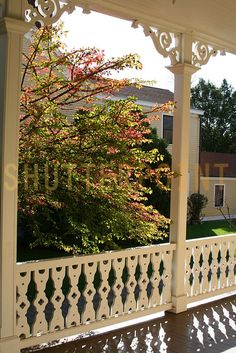 The Parent's need corbels. a little gingerbread on their porch. Image detail for -View From A Victorian Porch With Gingerbread Trim - Stock Photo Victorian Porch, Vintage Porch, Victorian Homes, Victorian Cottage, Victorian Architecture, Architecture Details, Porch Trim, Porch Railings, Front Porch