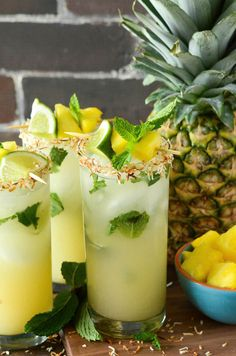 Pineapple Coconut Mojito- Let's have a drink and Cheers !! #chubster #barnab #beer #biere #cocktail #cocktails #gin #vodka #martini #champagne #alcool #alcohol #celebratemysize #plussize