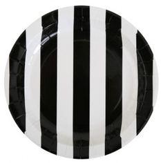 Assiette carton rayée noir blanc 23 cm les 10